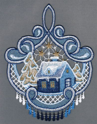 Embroidered Lace Winter Wonderland Christmas Window Picture